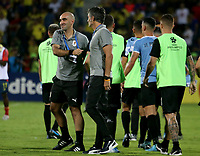 BUCARAMANGA - COLOMBIA, 09-02-2020: Gustavo Ferreyra técnico  de Uruguay celebra después del partido entre Colombia U-23 y Uruguay U-23 por el cuadrangular final como parte del torneo CONMEBOL Preolímpico Colombia 2020 jugado en el estadio Alfonso Lopez en Bucaramanga, Colombia. /Gustavo Ferreyra coach of Uruguay celebrates after the match between Colombia U-23 and Uruguay U-23 of for the final quadrangular as part of CONMEBOL Pre-Olympic Tournament Colombia 2020 played at Alfonso Lopez stadium in Bucaramanga, Colombia. Photo: VizzorImage / Jaime Moreno / Cont