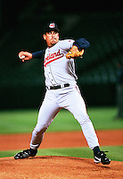 Dave Burba of the Cleveland Indians plays in a baseball game at Edison International Field during the 1998 season in Anaheim, California. (Larry Goren/Four Seam Images)