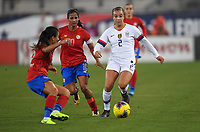 JACKSONVILLE, FL - NOVEMBER 10: Mallory Pugh #2 of the United States moves with the ball past Shirley Cruz #10 of Costa Rica during a game between Costa Rica and USWNT at TIAA Bank Field on November 10, 2019 in Jacksonville, Florida.