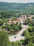 Yabtra River and a neighborhood in Veliko Tarnovo, Bulgaria