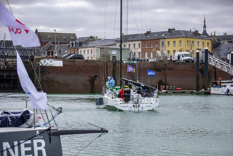 Irish solo sailor Tom Dolan arrives in Fécamp