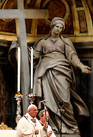 Papa Francesco celebra la Santa Messa del Crisma in occasione del Giovedì Santo, nella Basilica di San Pietro, Citta' del Vaticano, 17 aprile 2014.<br /> Pope Francis celebrates the Chrism Mass marking the start of Easter celebrations, in St. Peter's Basilica at the Vatican, 17 April 2014.<br /> UPDATE IMAGES PRESS/Riccardo De Luca<br /> <br /> STRICTLY ONLY FOR EDITORIAL USE