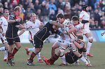 Dragons pair Andrew Coombs and Boris Stankovich tackle Ulster flanker Iain Henderson.<br /> Guinness Pro12<br /> Gwent Dragons v Ulster<br /> 08.03.15<br /> ©Steve Pope - SPORTINGWALES