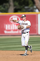 Ryan Raslowsky (2) of the Cal State Northridge Matadors in the field during a game against the UC Santa Barbara Gouchos at Matador Field on April 10, 2015 in Northridge, California. UC Santa Barbara defeated Cal State Northridge, 7-4. (Larry Goren/Four Seam Images)