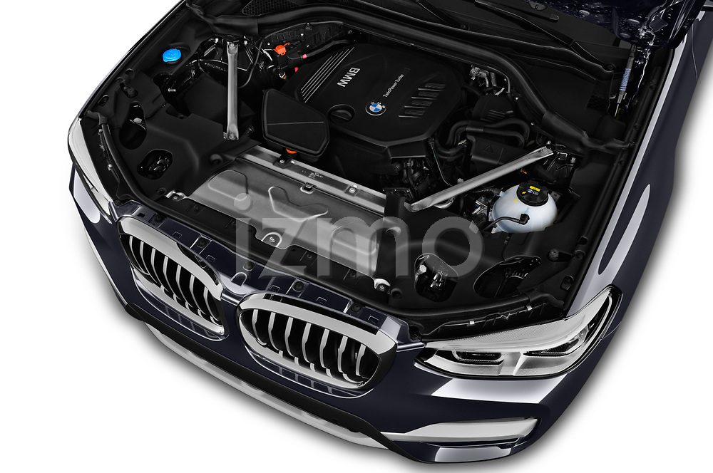 Car stock 2018 BMW X3 xLine 5 Door SUV engine high angle detail view