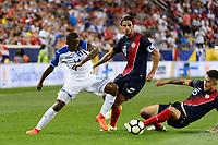 Harrison, NJ - Friday July 07, 2017: Oscar Boniek García, Bryan Ruiz, Francisco Calvo during a 2017 CONCACAF Gold Cup Group A match between the men's national teams of Honduras (HON) vs Costa Rica (CRC) at Red Bull Arena.