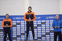 SPEEDSKATING: SALT LAKE CITY: Utah Olympic Oval, 09-03-2019, ISU World Cup Finals, Podium World Cup 1000m, Kai Verbij (NED), Kjeld Nuis (NED), Pavel Kuliznikov (RUS), ©Martin de Jong