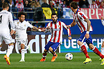 Atletico de Madrid's Arda Turan (R) and Real Madrid´s Marcelo Vieira during quarterfinal first leg Champions League soccer match at Vicente Calderon stadium in Madrid, Spain. April 14, 2015. (ALTERPHOTOS/Victor Blanco)