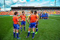 Match officials. Day two of the 2018 HSBC World Sevens Series Hamilton at FMG Stadium in Hamilton, New Zealand on Saturday, 3 February 2018. Photo: Dave Lintott / lintottphoto.co.nz