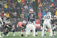FOXBOROUGH, MA - NOVEMBER 24: New England Patriots Quarterback Tom Brady #12 points downfield before the snap during a game between Dallas Cowboys and New England Patriots at Gillettes on November 24, 2019 in Foxborough, Massachusetts.