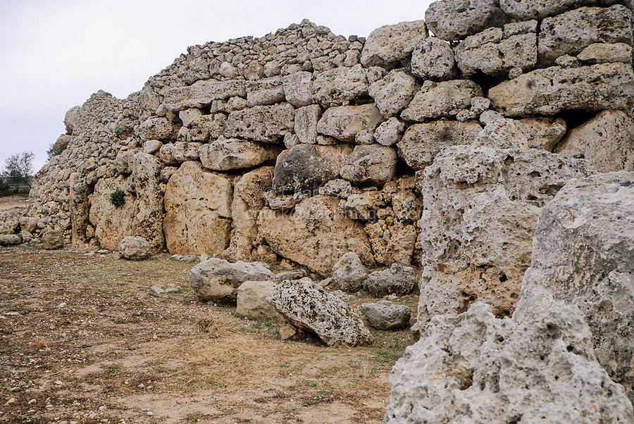 Ggantija, Gozo. - North Wall of Temple.  The stone temples of Malta and Gozo are the oldest stone constructions in the world, pre-dating the Egyptian pyramids and Stonehenge by as much as a thousand years.  Ggantija was built around 3500BC.