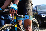 Bruised, blooded and mud splattered during the 116th edition of Paris-Roubaix 2018. 8th April 2018.<br /> Picture: ASO/Pauline Ballet | Cyclefile<br /> <br /> <br /> All photos usage must carry mandatory copyright credit (© Cyclefile | ASO/Pauline Ballet)