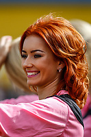 London, UK on Sunday 31st August, 2014. Sophie #Ginger from PowPow Girls during the Soccer Six charity celebrity football tournament at Mile End Stadium, London.