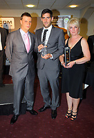 Pictured: Danny Graham (C) with his Top Goalscorer of the Year Award presented to him by Lineside ail. Thursday 10 May 2012<br />