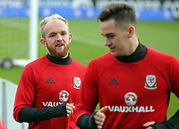 Pictured: (L-R) Jonathan Williams and Tom Lawrence. Monday 02 October 2017<br /> Re: Wales football training, ahead of their FIFA Word Cup 2018 qualifier against Georgia, Vale Resort, near Cardiff, Wales, UK.