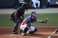 Pescados de Carolina catcher Wes Clarke (5) sets a target as home plate umpire Tre Jester looks on during the game against the Delmarva Shorebirds at Five County Stadium on September 4, 2021 in Zebulon, North Carolina. (Brian Westerholt/Four Seam Images)
