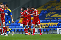 Ashley Nadesan (10) of Crawley Town congratulates Max Watters (centre)  who has just scored Crawley's second goal during AFC Wimbledon vs Crawley Town, Emirates FA Cup Football at Plough Lane on 29th November 2020