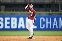 Dylan Busby (28) of the Florida State Seminoles stands on second base against the Notre Dame Fighting Irish in Game Four of the 2017 ACC Baseball Championship at Louisville Slugger Field on May 24, 2017 in Louisville, Kentucky. The Seminoles walked-off the Fighting Irish 5-3 in 12 innings. (Brian Westerholt/Four Seam Images)