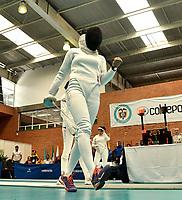BOGOTA – COLOMBIA – 27 – 05 – 2017: Diana Rodriguez de Colombia,  celebra el punto sobre Daria Martynyuk (Der.) de Rusia, durante Damas Mayores Epee del Gran Prix de Espada Bogota 2017, que se realiza en el Centro de Alto Rendimiento en Altura, del 26 al 28 de mayo del presente año en la ciudad de Bogota.  / Diana Rodriguez from Colombia, celebrates the point over Daria Martynyuk (R) from Russia, during Senior Women´s Epee of the Grand Prix of Espada Bogota 2017, that takes place in the Center of High Performance in Height, from the 26 to the 28 of May of the present year in The city of Bogota.  / Photo: VizzorImage / Luis Ramirez / Staff.