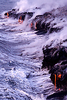 several spigots of lava entering the Pacific Ocean at Lea'Puki, Hawaii, USA Volcanoes National Park, Big Island of Hawaii, USA, Pacific Ocean