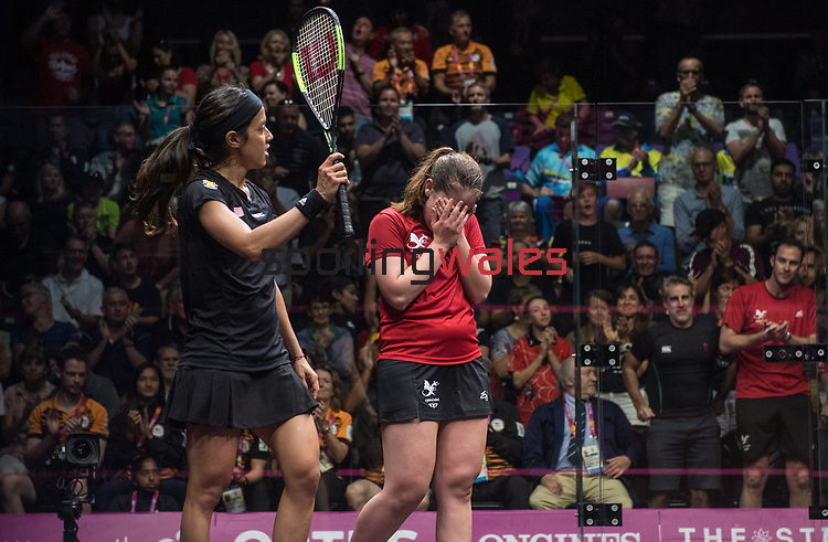 Wales Tesni Evans v Malaysia Nicol David <br /> <br /> *This image must be credited to Ian Cook Sportingwales and can only be used in conjunction with this event only*<br /> <br /> 21st Commonwealth Games - Bronze medal deciding match Wales v Malaysia, Squash -  Day 5 - 09\04\2018 - Oxenford Studios, Show Court - Gold Coast City - Australia
