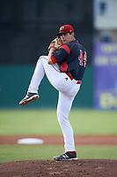 Batavia Muckdogs starting pitcher Sam Perez (44) delivers a warmup pitch during a game against the West Virginia Black Bears on June 26, 2017 at Dwyer Stadium in Batavia, New York.  Batavia defeated West Virginia 1-0 in ten innings.  (Mike Janes/Four Seam Images)