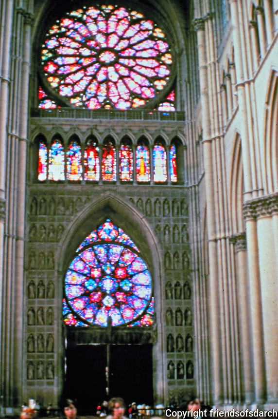 Reims Cathedral: Western Wall of the Nave, Showing La Grande Rose and the Small Rose. Reims, France.