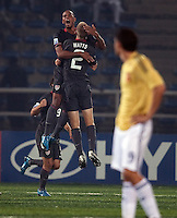 Stefan Jerome and Jared Watts celebrate. Spain defeated the U.S. Under-17 Men National Team  2-1 at Sani Abacha Stadium in Kano, Nigeria on October 26, 2009.