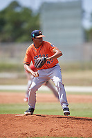 Houston Astros pitcher Gabriel Valdez (450 during a Minor League Spring Training game against the St. Louis Cardinals on March 27, 2018 at the Roger Dean Stadium Complex in Jupiter, Florida.  (Mike Janes/Four Seam Images)