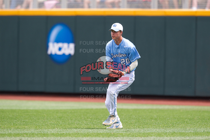 North Carolina Tar Heels outfielder Skye Bolt #20 fields during Game 3 of the 2013 Men's College World Series between the North Carolina State Wolfpack and North Carolina Tar Heels at TD Ameritrade Park on June 16, 2013 in Omaha, Nebraska. The Wolfpack defeated the Tar Heels 8-1. (Brace Hemmelgarn/Four Seam Images)