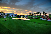 Stock photo of golf course at dusk in Indian Wells, California