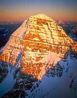Canada, British Columbia, Mt Assiniboine PP, Aerial of Mt Assiniboine at sunset