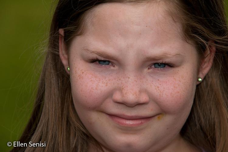 MR / Little Falls, NY. Benton Hall Academy (public elementary school). Grade 5. Portrait of girl (age 11). MR: Woo3. ID: AK-g5s. © Ellen B. Senisi.