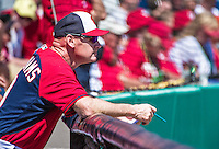 16 March 2014: Washington Nationals Manager Matt Williams watches a Spring Training Game against the Detroit Tigers at Space Coast Stadium in Viera, Florida. The Tigers edged out the Nationals 2-1 in Grapefruit League play. Mandatory Credit: Ed Wolfstein Photo *** RAW (NEF) Image File Available ***
