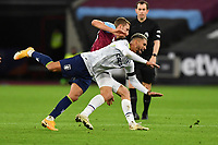 Tomas Soucek of West Ham United fails Douglas Luiz of Aston Villa during West Ham United vs Aston Villa, Premier League Football at The London Stadium on 30th November 2020