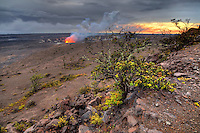 At sunset, the lava lake glows at Halemaʻumaʻu Crater, Hawai'i Volcanoes National Park, Island of Hawai'i.