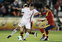 Spain's Montoya (r) and Norway's Singh during international sub21 match.March 21,2013. (ALTERPHOTOS/Acero) /NortePhoto
