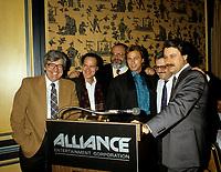 Undated File Photo circa 1987 - Montreal, Quebec  - Denis Heroux, ?, ?,Jeff Wincott, Victor Loewy, Robert Lantos