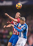 "Diego Roberto Godin Leal (l) of Atletico de Madrid fights for the ball with Savador Sevilla Lopez ""Salva S"" of RCD Espanyol during the La Liga match between Atletico de Madrid and RCD Espanyol at the Vicente Calderón Stadium on 03 November 2016 in Madrid, Spain. Photo by Diego Gonzalez Souto / Power Sport Images"