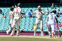 11th January 2021; Sydney Cricket Ground, Sydney, New South Wales, Australia; International Test Cricket, Third Test Day Five, Australia versus India; Nathan Lyon of Australia is congratulated by David Warner of Australia on the wicket of Ajinkya Rahane of India
