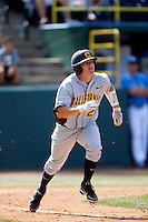 Brian Celsi #25 of the California Golden Bears runs the bases against the UCLA Bruins at Jackie Robinson Stadium on March 23, 2013 in Los Angeles, California. (Larry Goren/Four Seam Images)