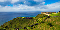 Historical Brimstone Hill Fortress, a UNESCO World Heritage site above the turquoise sea, in Saint Kitts & Nevis Island, Caribbean Leeward Islands