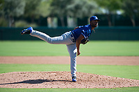 Los Angeles Dodgers relief pitcher Andre Jackson (15) delivers a pitch during an Instructional League game against the San Diego Padres at Camelback Ranch on September 25, 2018 in Glendale, Arizona. (Zachary Lucy/Four Seam Images)