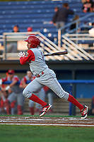 Williamsport Crosscutters shortstop William Cuicas (8) at bat during a game against the Batavia Muckdogs on August 27, 2015 at Dwyer Stadium in Batavia, New York.  Batavia defeated Williamsport 3-2.  (Mike Janes/Four Seam Images)