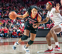 COLLEGE PARK, MD - FEBRUARY 9: Arella Guirantes #24 of Rutgers dribbles past Kaila Charles #5 of Maryland during a game between Rutgers and Maryland at Xfinity Center on February 9, 2020 in College Park, Maryland.