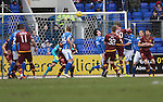 St Johnstone v Motherwell…20.02.16   SPFL   McDiarmid Park, Perth<br />Louis Moult scores for Motherwell<br />Picture by Graeme Hart.<br />Copyright Perthshire Picture Agency<br />Tel: 01738 623350  Mobile: 07990 594431