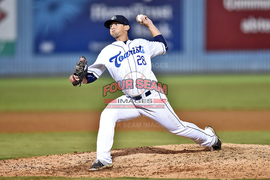 Asheville Tourists pitcher Jerry Vasto (28) delivers a pitch during game one of the Southern Division South Atlantic League Playoffs against the Savannah Sand Gnats on September 9, 2015 in Asheville, North Carolina. The Tourists defeated the Sand Gnats 5-1. (Tony Farlow/Four Seam Images)