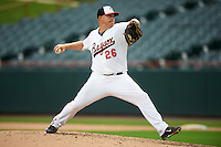 Bowie Baysox relief pitcher Jason Stoffel (26) during the second game of a doubleheader against the Akron RubberDucks on June 5, 2016 at Prince George's Stadium in Bowie, Maryland.  Bowie defeated Akron 12-7.  (Mike Janes/Four Seam Images)