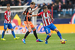Filipe Luis of Atletico de Madrid (right) competes for the ball with  Santiago Mina Lorenzo, Santi Mina, of Valencia CF (left) during the match Atletico de Madrid vs Valencia CF, a La Liga match at the Estadio Vicente Calderon on 05 March 2017 in Madrid, Spain. Photo by Diego Gonzalez Souto / Power Sport Images