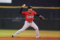 Birmingham Barons second baseman Joey DeMichele (27) throws to first during a game against the Biloxi Shuckers on May 23, 2015 at Joe Davis Stadium in Huntsville, Alabama.  Birmingham defeated Biloxi 2-0 as the Shuckers are playing all games on the road, or neutral sites like their former home in Huntsville, until the teams new stadium is completed.  (Mike Janes/Four Seam Images)